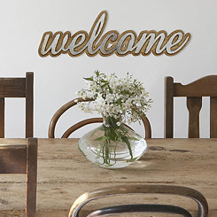 Wood and Metal Welcome Wall Plaque