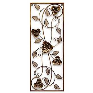 Cascading Rose Panel Wall Plaque