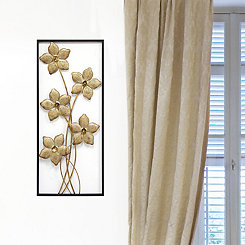 Gold Lattice Flower Panel Wall Plaque