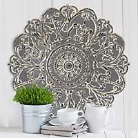 Gray Medallion Metal Wall Plaque