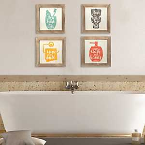 Floss, Flush, Wipe, and Wash Plaques, Set of 4