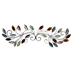 Multicolored Leaf Scrolling Vine Wall Plaque
