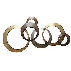 Metallic Rings Metal Wall Plaque