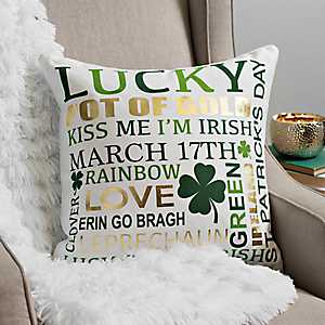 White St. Patrick's Day Typography Pillow