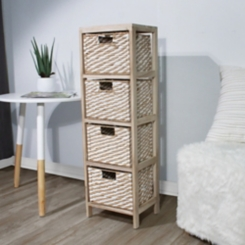 Natural Rope Weave 4-Drawer Storage Chest
