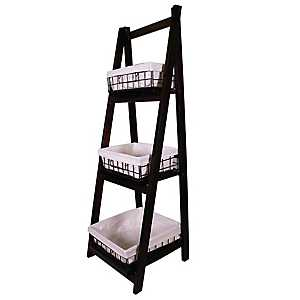 Espresso Wood 3-Tier Foldable Shelf with Baskets