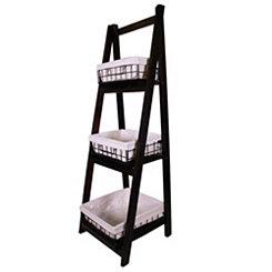 Espresso Wood 3-Tier Foldable Shelf with Baskets