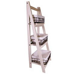 Natural Wood 3-Tier Foldable Shelf with Baskets