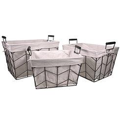 Herringbone Metal Baskets, Set of 3