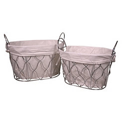 Oval Metal Baskets, Set of 2