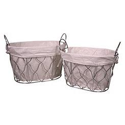 Oval Metal Baskets, Set of 2