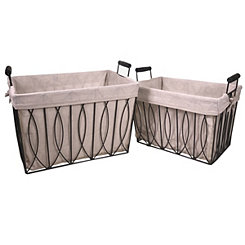 Ayan Metal Baskets, Set of 2