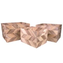 Natural Zig Zag Wooden Baskets, Set of 3
