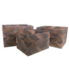Dark Zig Zag Wooden Baskets, Set of 3