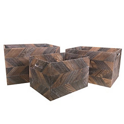 Dark Zig Zag Wooden Baskets, Set of 3