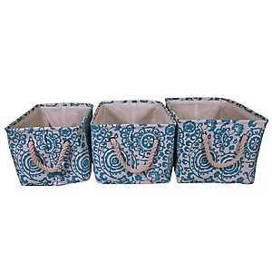 Blue Floral Suzani Fabric Baskets, Set of 3
