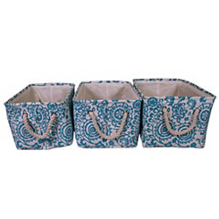 Blue Floral Suzani Fabric Baskets, Set of 3