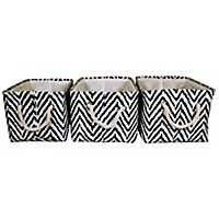 Ikat Chevron Fabric Baskets, Set of 3