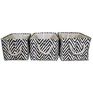 Ikat Chevron Fabric Baskets, Set of 3