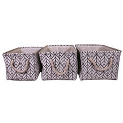 Geometric Leaf Fabric Baskets, Set of 3