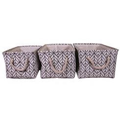 Geometric Leaf Fabric Baskets, Set of 3