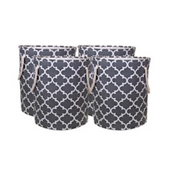 Gray Lattice Canvas Laundry Hampers, Set of 4