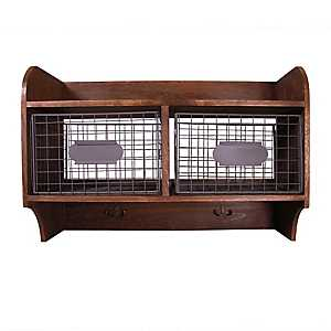 Walnut Wooden Wall Shelf with Baskets and Hooks