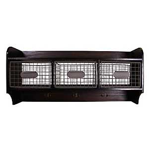 Espresso Wooden Wall Shelf with Baskets and Hooks