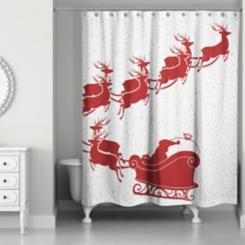 Santa's Sleigh Shower Curtain