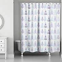 Christmas Tree Doodle Shower Curtain