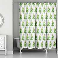 Watercolor Christmas Trees Shower Curtain