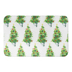 Watercolor Christmas Trees Bath Mat
