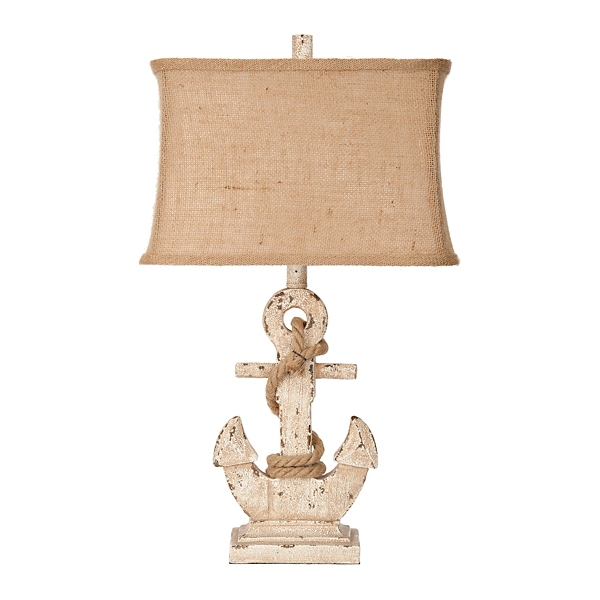 Distressed Cream Anchor Table Lamp