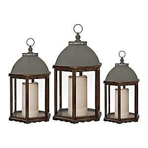 Brown Barn Wood Lanterns, Set of 3
