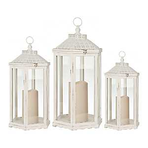 White Wood and Pierced Top Lanterns, Set of 3