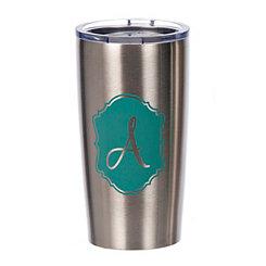 Turquoise Crest Monogram A Steel Tumbler