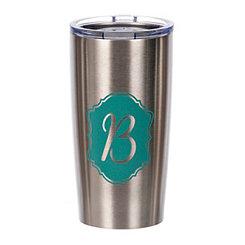 Turquoise Crest Monogram B Steel Tumbler