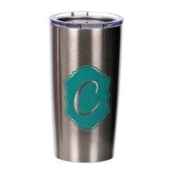 Turquoise Crest Monogram C Steel Tumbler