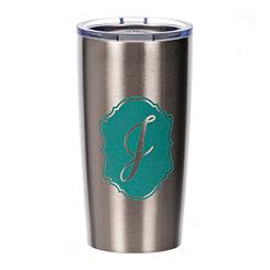 Turquoise Crest Monogram J Steel Tumbler