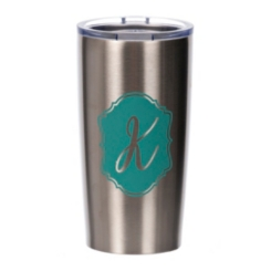 Turquoise Crest Monogram Steel Tumblers