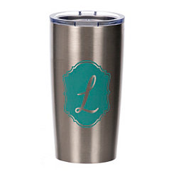 Turquoise Crest Monogram L Steel Tumbler