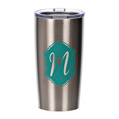 Turquoise Crest Monogram M Steel Tumbler