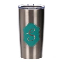 Turquoise Crest Monogram S Steel Tumbler
