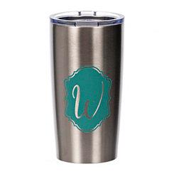 Turquoise Crest Monogram W Steel Tumbler