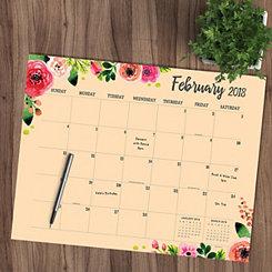 Floral 2018 Desk Blotter Calendar