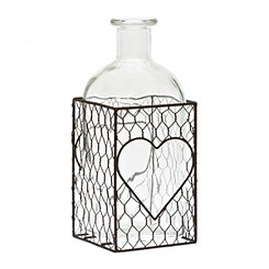 Glass Jar with Chicken Wire Heart Stand