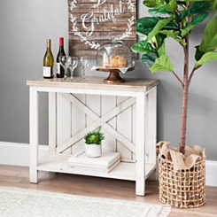 Finley Cream Barn Door Back Console Table