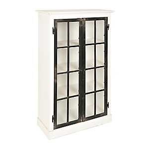 Emma Black and White Wood 2-Door Cabinet