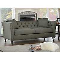 Gray Nailhead Tufted Sofa