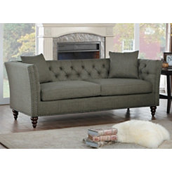 Gray Nailhead Tufted Sofa
